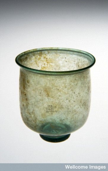 L0057439 Glass cup, Roman, 251-450 CE